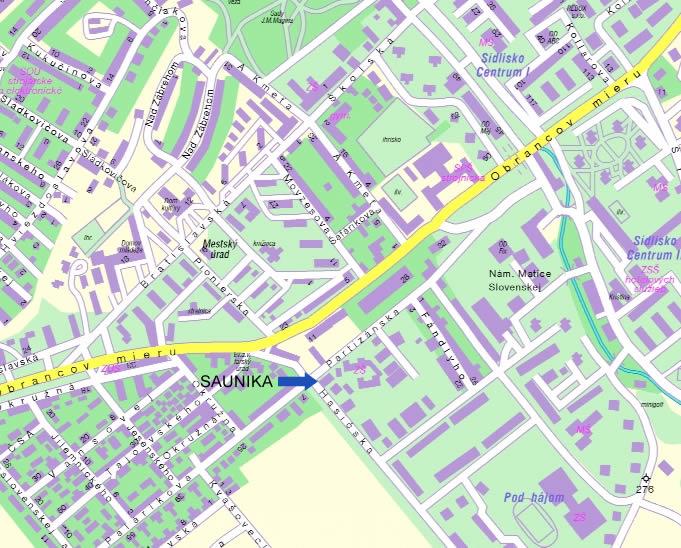 Mapa - predaj�a SAUNIKA