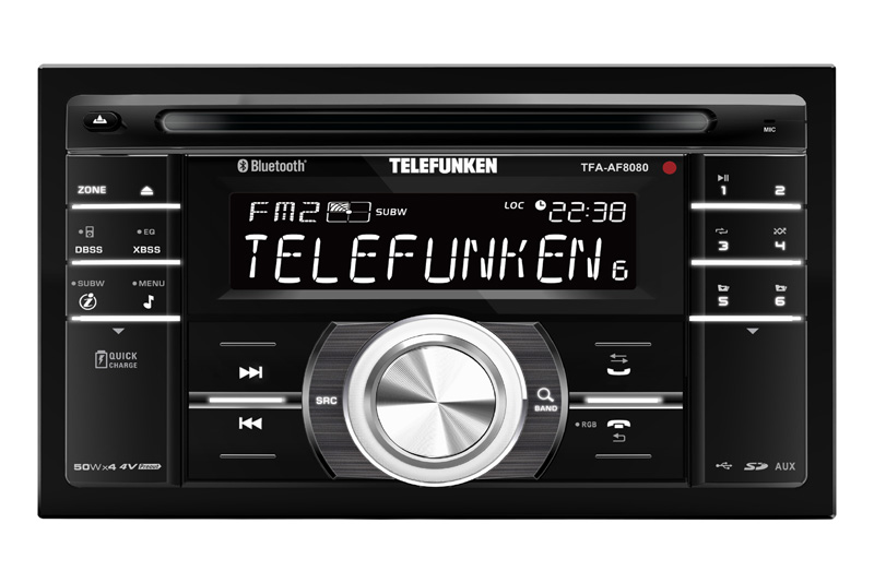TELEFUNKEN TFA-AS8080 BT 2DIN autor�dio s CD / MP3 / USB / AUX a HF sadou
