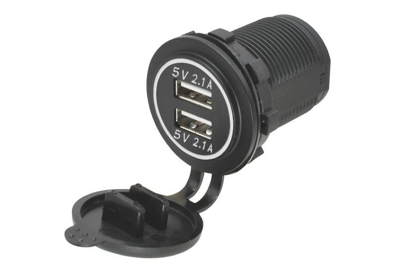 Adapt�r 12V -> 2x USB 5V / 4,2A s biela LED