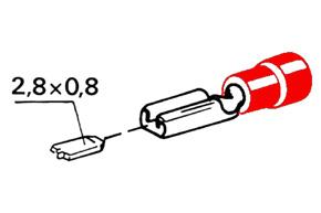 Izolovan� konektor - samica 2,8 mm