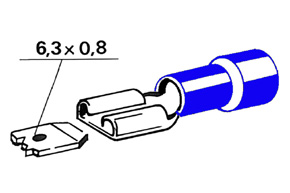 Izolovan� konektor - samica 6,3 mm, prierez 1,5-2,5mm^2