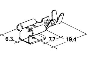 Konektor dutinka 6,3 mm s odbo�kou-mosadz