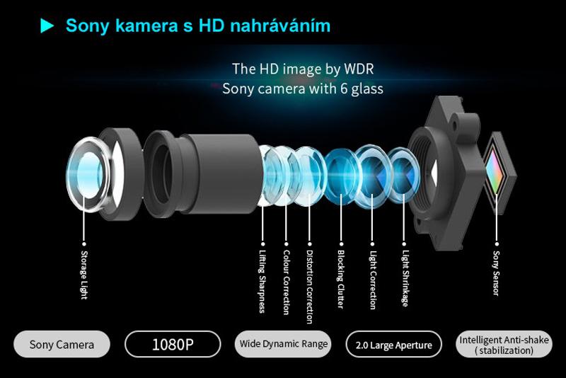 InCar DVR záznamová kamera univerzálna pod spätné zrkadlo
