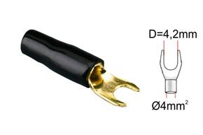 Káblová vidlièka 4mm2-èierna