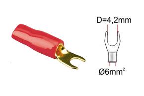 Káblová vidlièka 6mm2-èervená