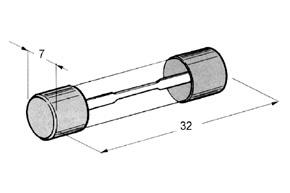 Trubièkové sklenené poistky 32 x 7 mm.