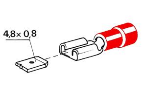 Izolovaný konektor - samica 4,8 mm, prierez 0,5-1,5mm^2