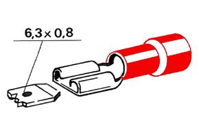 Izolovaný konektor - samica 6,3 mm, prierez 0,5-1,5mm^2