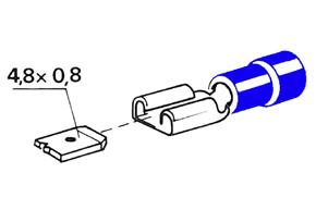 Izolovaný konektor - samica 4,8 mm, prierez 1,5-2,5mm^2