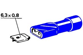 Izolovaný konektor /celý/ - samica 6,3 mm, prierez 1,5-2,5mm^2
